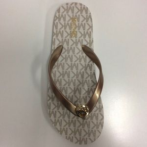 Michael Kors Flip Flop Sandals Gold and White